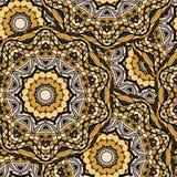 在明亮的颜色的坛场纹理 在印地安样式的无缝的样式 抽象背景向量 免版税库存图片