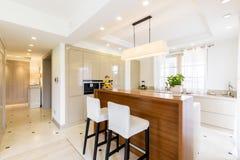 在明亮的颜色的当代豪华厨房设计 库存图片