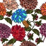 在明亮的颜色的速写的花印刷品-无缝的背景 库存照片