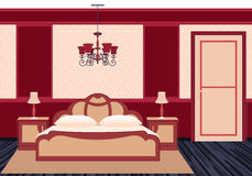 在明亮的颜色的经典卧室内部 库存图片