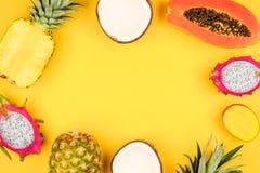 在明亮的黄色背景的热带水果框架 免版税库存照片
