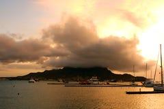在明德卢海湾的日落 免版税库存照片
