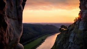 在易北河的日落从Bastei桥梁 库存照片
