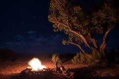 在星下的篝火 图库摄影
