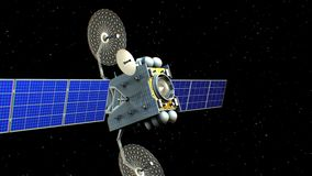 在星中的虚构的人造卫星, 3d动画 库存例证