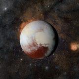 在星云背景的太阳系行星冥王星 库存图片
