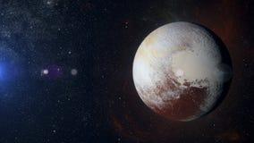 在星云背景的太阳系行星冥王星 免版税库存照片