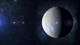在星云背景的太阳系行星土卫二 库存照片