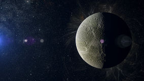 在星云背景的太阳系行星土卫四 库存图片