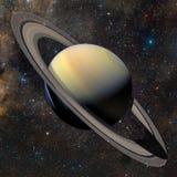 在星云背景的太阳系行星土星 库存图片