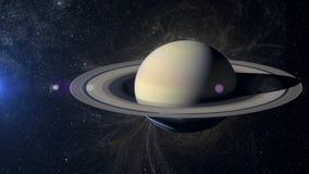 在星云背景的太阳系行星土星 免版税图库摄影