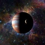 在星云背景的太阳系行星木星 美国航空航天局装备的这个图象的元素 免版税库存图片