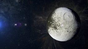 在星云背景的太阳系行星Iapetus 免版税库存照片