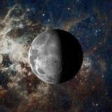 在星云背景的月亮 美国航空航天局装备的这个图象的元素 库存照片