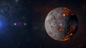在星云背景3d翻译的外籍人热的行星 免版税库存图片