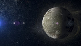 在星云背景3d翻译的太阳系行星木卫三 库存照片