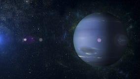 在星云背景3d翻译的太阳系行星海王星 免版税库存照片