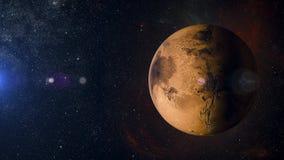 在星云背景3d翻译的太阳系行星火星 免版税图库摄影
