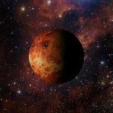 在星云背景3d翻译的太阳系行星金星 免版税库存照片