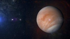 在星云背景3d翻译的太阳系行星金星 库存照片