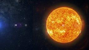 在星云背景3d翻译的太阳 免版税图库摄影
