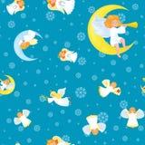在星发光和天使无缝的xmas传染媒介样式、christmass背景雪在天空和飞行的女孩的雪花 免版税库存图片