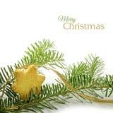 在星形状的圣诞节曲奇饼和在冷杉麸皮的一条金黄丝带 免版税库存图片