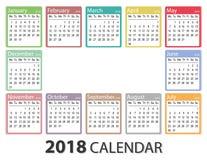在星期一2018年日历,星期开始,月度日历模板, 2018可印的日历 免版税图库摄影