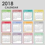 在星期一2018年日历,星期开始,月度日历模板, 2018可印的日历 库存照片