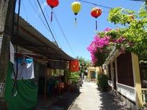 在星期四好的妙语河,会安市,越南的小船 免版税库存照片