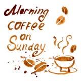 在星期天,手写的词组早晨咖啡 库存图片