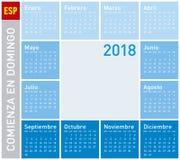 在星期天,蓝色日历年2018年,星期开始 向量例证