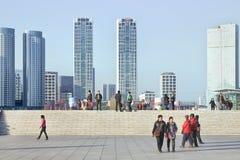 在星海广场,大连,中国的现代建筑学 免版税库存图片