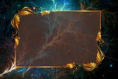 在星系的艺术性的抽象五颜六色的闪电作用以写文本的地方对此 向量例证