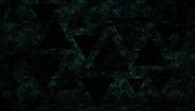 在星系背景-未来派宇宙宇宙墙纸,在黑色的绿松石的三角形状 免版税图库摄影