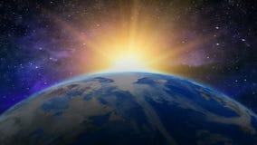 在星系的日出地球 向量例证