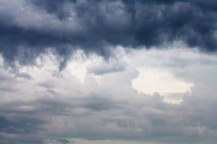 在春天天空的黑暗的雨云 免版税库存图片