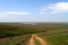 在春天干草原,越野驱动的未铺砌的干燥土乡下公路 库存图片