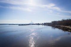 在春天春天太阳和植物下的早晨河 免版税图库摄影