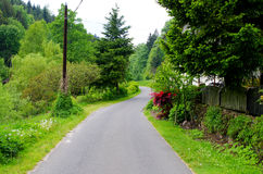 在春天期间的村庄路 库存照片
