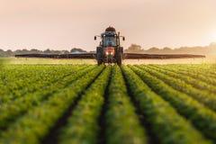 在春天的拖拉机喷洒的大豆领域 免版税图库摄影