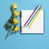 在春天的方形的笔记薄有与一朵黄色玫瑰的白色牛皮纸的在蓝色背景说谎 Copyspace 库存照片