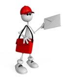 在春天的3D白色邮递员。 免版税库存照片