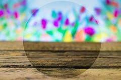 在春天背景的木板 图库摄影