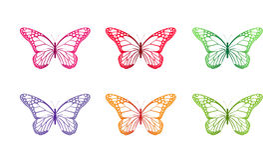 在春天隔绝的套五颜六色的蝴蝶 库存照片