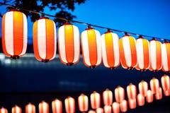 在春节节日,选择聚焦期间的红色灯笼 免版税库存照片