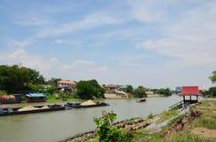 在昭拍耶河泰国文化的小船 库存照片