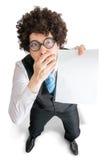 在显示习惯消息的失望的人的顶视图空白的空的纸 免版税库存照片
