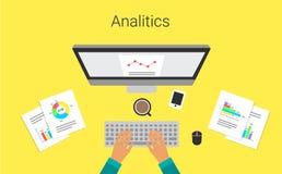 在显示器报告图表的商业运作 分析家, s工作 分析图表和图 也corel凹道例证向量 库存照片