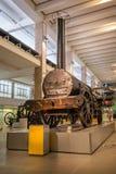 在显示在科技馆,伦敦,英国的原始的斯蒂芬森的火箭队蒸汽火车 图库摄影